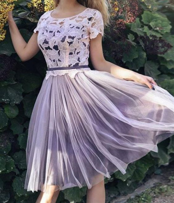 Stylish Short Sleeve A Line Prom Dress, Lace Short Homecoming Dresses