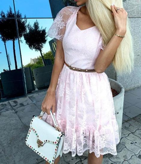 Stylish Short Sleeve Lace Pink Prom Dress, Pink Short Party Dress, Homecoming