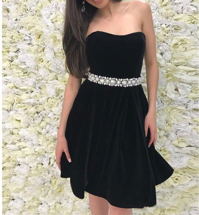 Stylish Strapless Red/Black Short Prom Dress, Sexy Party Dress