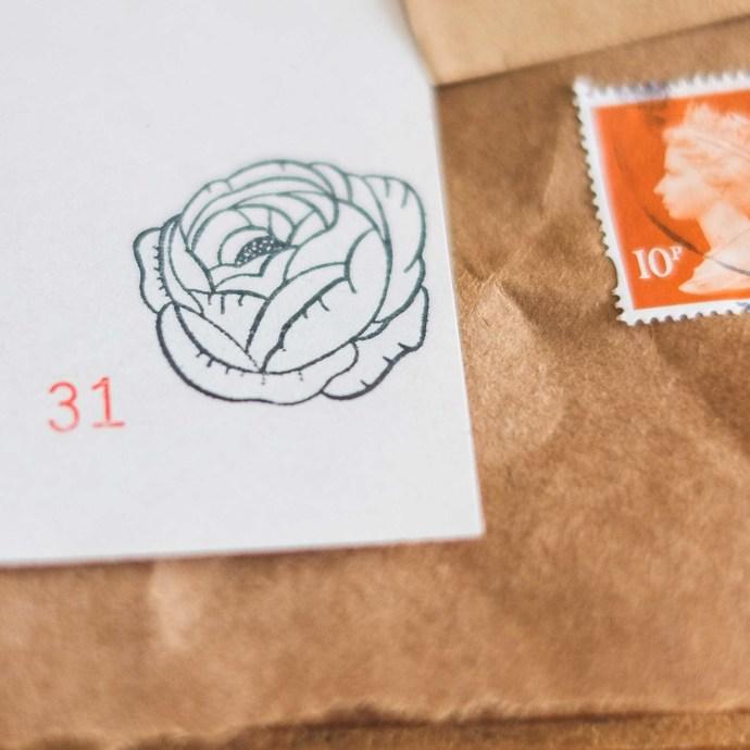 London Gifties original design wooden stamp - Peony - 3 x 3 cm