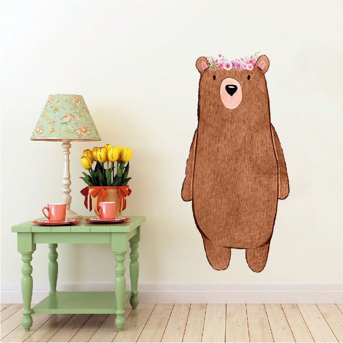 """Woodland Creatures Collection: Bear with Flowers Wall Decal - 36"""" tall x 18"""""""