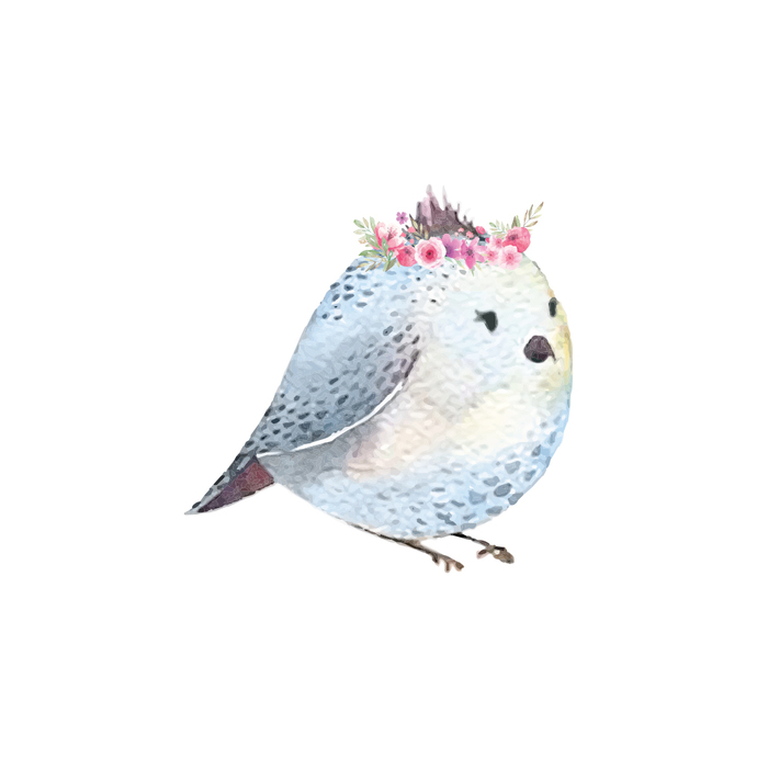 "Woodland Creatures Collection: Bird with Flowers Wall Decal - 5"" tall x 5"" wide"