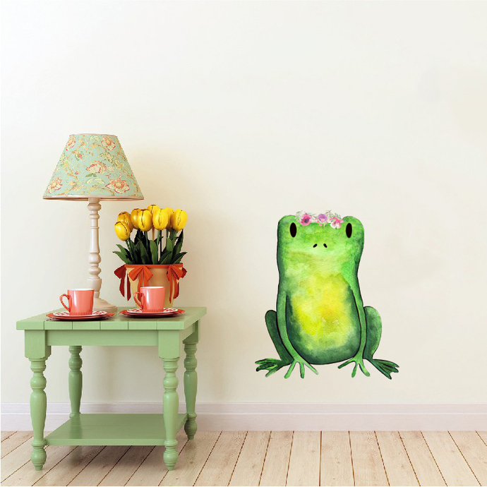 """Woodland Creatures Collection: Frog with Flowers Wall Decal - 5"""" tall x 4"""" wide"""