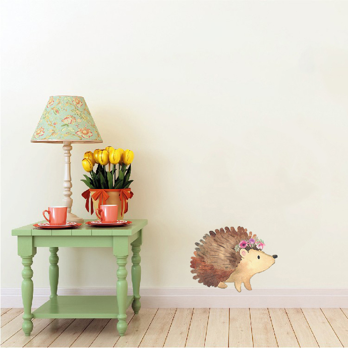 """Woodland Creatures Collection: Hedgehog with Flowers Wall Decal - 5.5"""" tall x 7"""""""