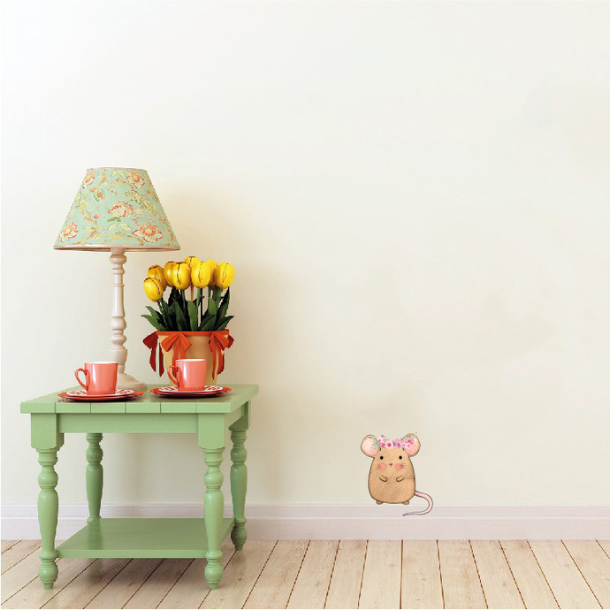 """Woodland Creatures Collection: Mouse with Flowers Wall Decal - 4"""" tall x 3.5"""""""