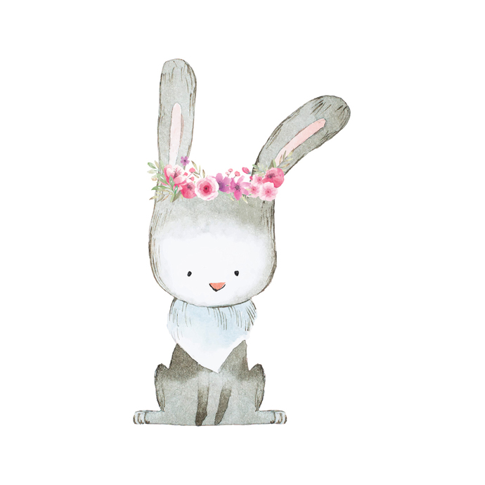 "Woodland Creatures Collection: Rabbit with Flowers Wall Decal - 15"" tall x 9"""