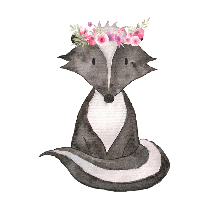 "Woodland Creatures Collection: Skunk with Flowers Wall Decal - 12"" tall x 9"""