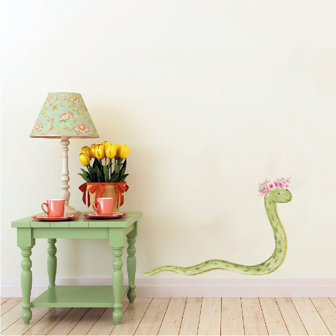 """Woodland Creatures Collection: Snake with Flowers Wall Decal - 11"""" tall x 18"""""""