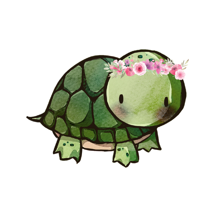"Woodland Creatures Collection: Tortoise with Flowers Wall Decal - 8"" tall x 11"""