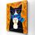 Autumn Tuxedo Cat With Coffee Original Cat Folk Art Painting