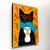 Autumn Black Cat With Coffee Original Cat Folk Art Painting