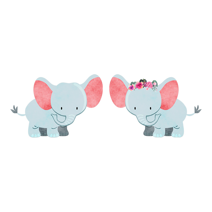 Elephant Pair - Set of 2 Decals - Safari Animals Series - Wall Decal - Great For