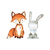 Fox and Hare Set - Set of 2 Decals - Safari Animals Series - Wall Decal - Great