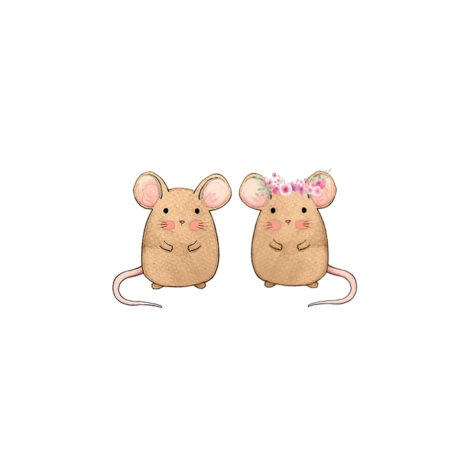 Mouse Pair - Set of 2 Decals - Safari Animals Series - Wall Decal - Great For