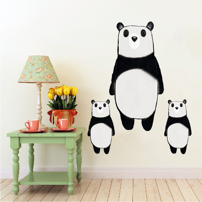 Panda with Babies - Set of 3 Decals - Safari Animals Series - Wall Decal - Great