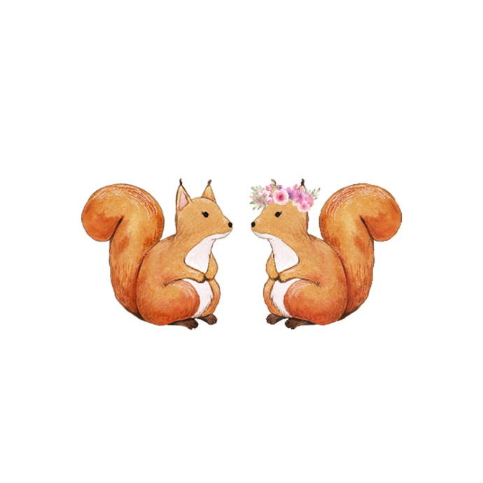 Squirrel Pair - Set of 2 Decals - Safari Animals Series - Wall Decal - Great For