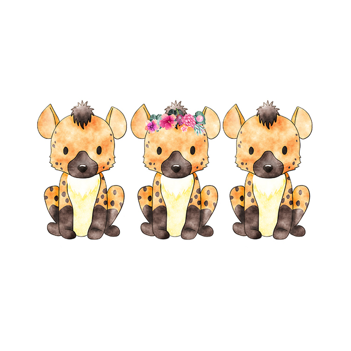Hyena Trio - Set of 3 Decals - Safari Animals Series - Wall Decal - Great For