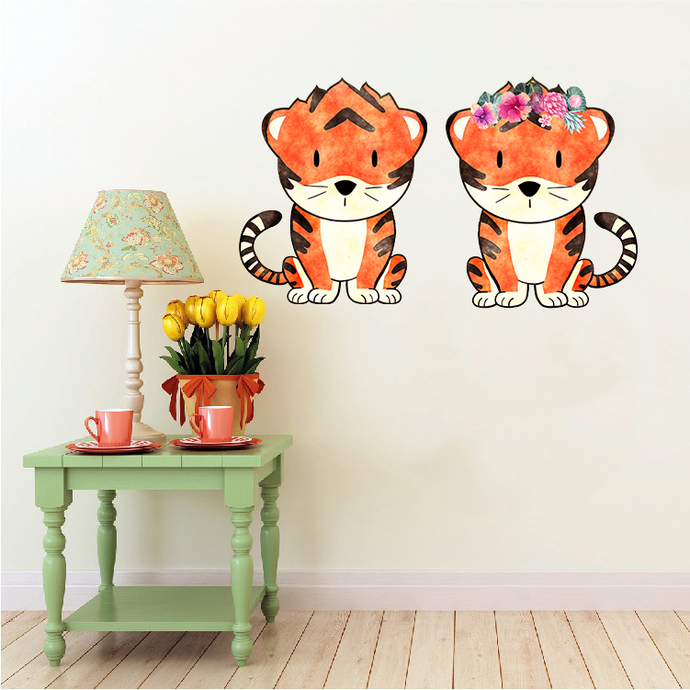 Tiger Pair - Set of 2 Decals - Safari Animals Series - Wall Decal - Great For