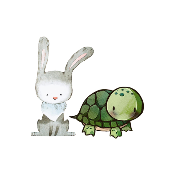 Tortoise and Hare - Set of 2 Decals - Safari Animals Series - Wall Decal - Great