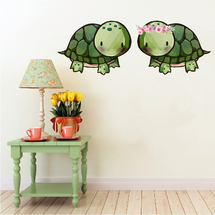 Tortoise Pair - Set of 2 Decals - Safari Animals Series - Wall Decal - Great For
