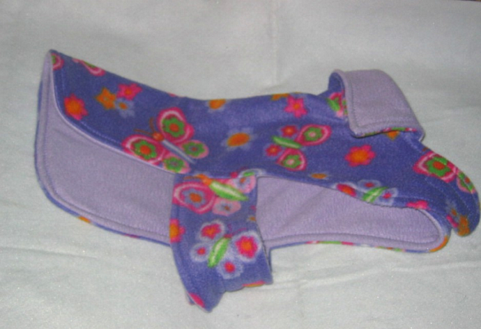 Dog Coat Purple Butterfly Floral Reversible Fleece