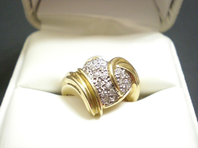 Yellow gold heart shaped ring with pave diamonds, size 6 ring in 10k gold