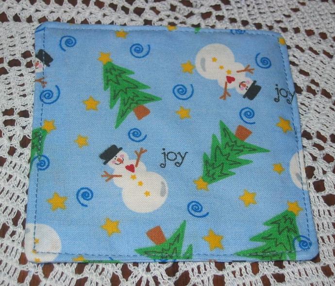 4 Blue Winter Snowman Coasters