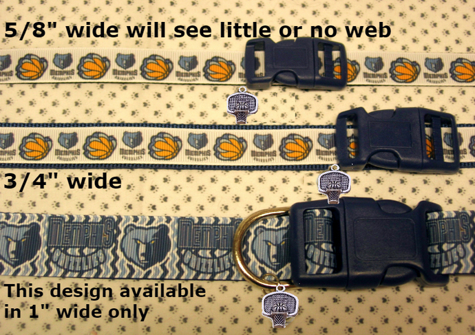 "Memphis Grizzlies, basketball, Sports Team, 5/8"" -  1"" Dog or Cat Collar,"