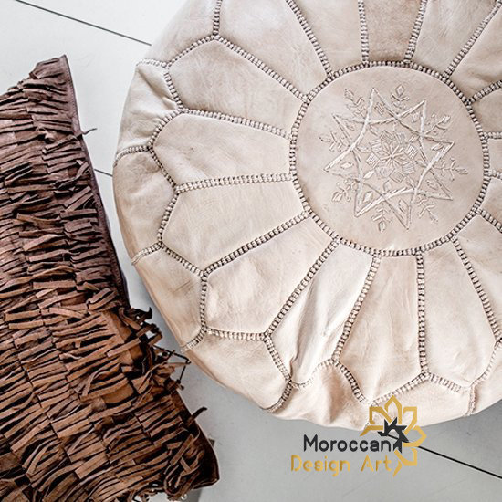 Moroccan Pouf, leather, beaded, pouffe, cuir, genuine, handmade, Ottoman, round,