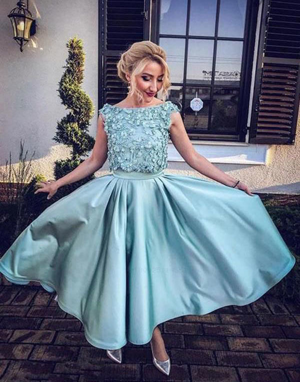 Elegant Sage Ankle Length Homecoming Dress, Appliques Lace Formal Prom Dress