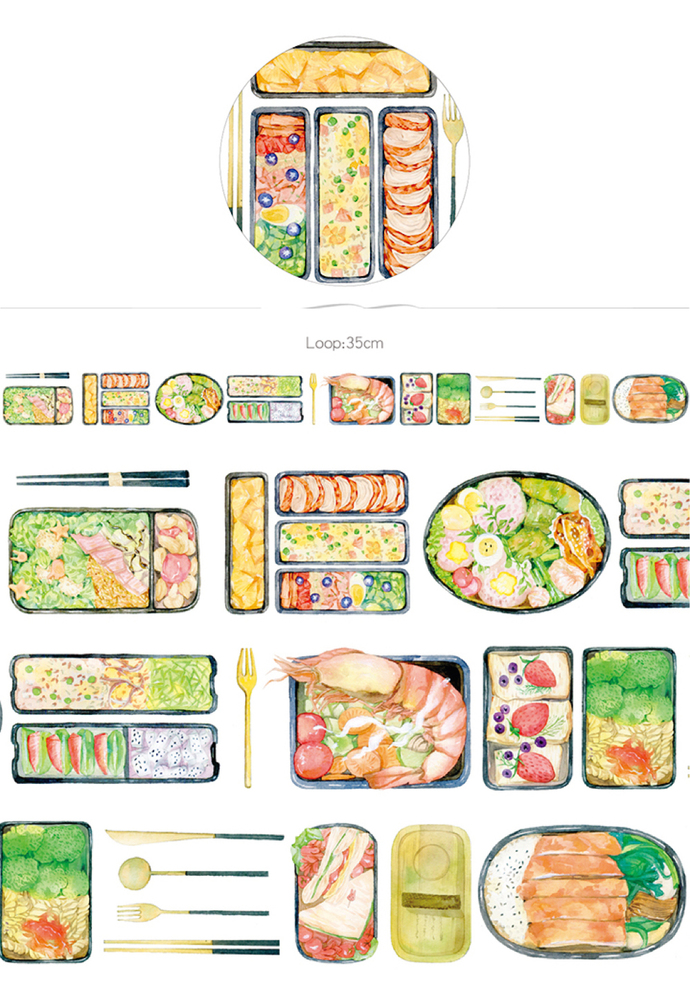 1 Roll of Limited Edition Washi Tape:  Japanese Lunch Bento