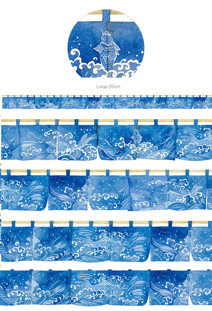 1 Roll Limited Edition Washi Tape: Fish and Ocean Wave Japanese Noren curtain