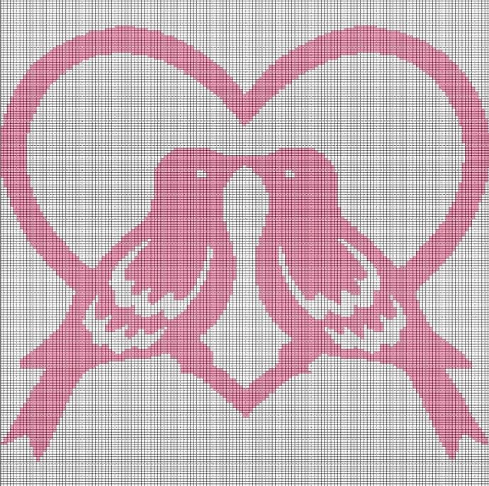 LOVE BIRDS CROCHET AFGHAN PATTERN GRAPH