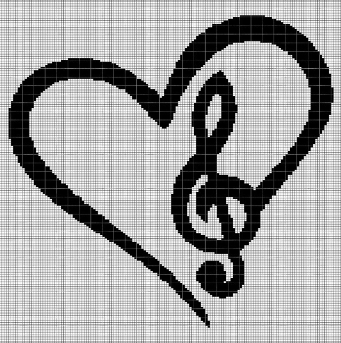 LOVE MUSIC CROCHET AFGHAN PATTERN GRAPH