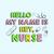 Hello My name is Hey, Nurse,  Nurse funny birthday gift, love nurselife, gift