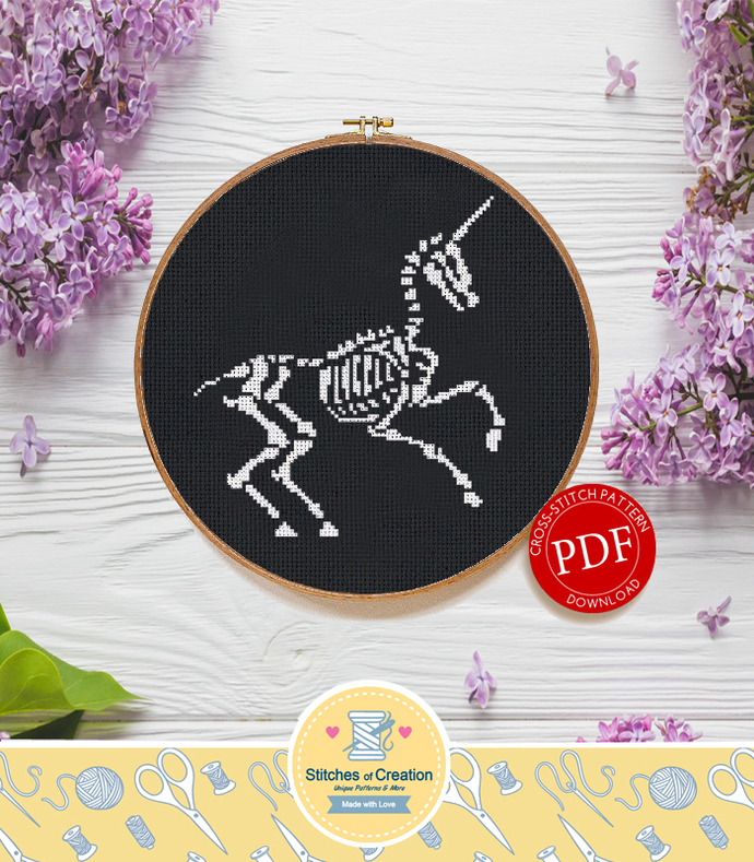 Unicorn Skeleton | Digital Download | Round Cross Stitch Pattern |
