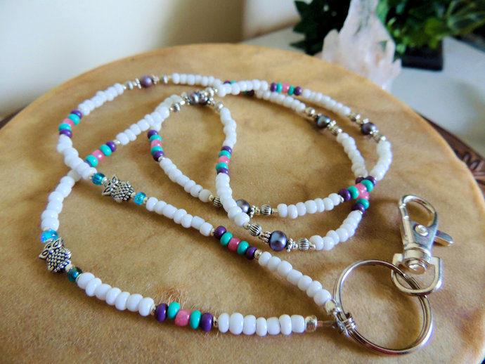 Owl Pearl Lanyard, Purple and Turquoise, Badge ID Holder, Office Gift
