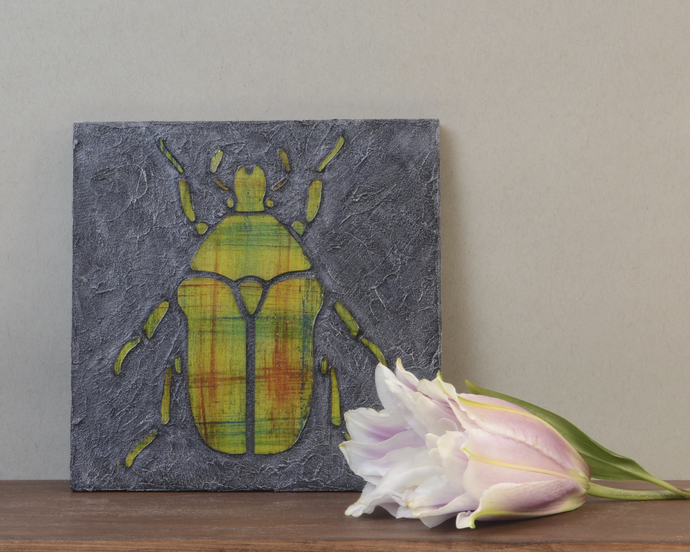 Small Beetle Paintings. Mixed Media, Faux Stone Tile Mosaic Painting, Red and
