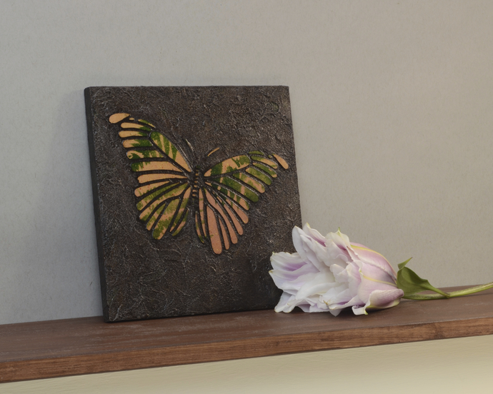 Small Butterfly Paintings. Mixed Media, Faux Stone Tile Mosaic Painting, Purple