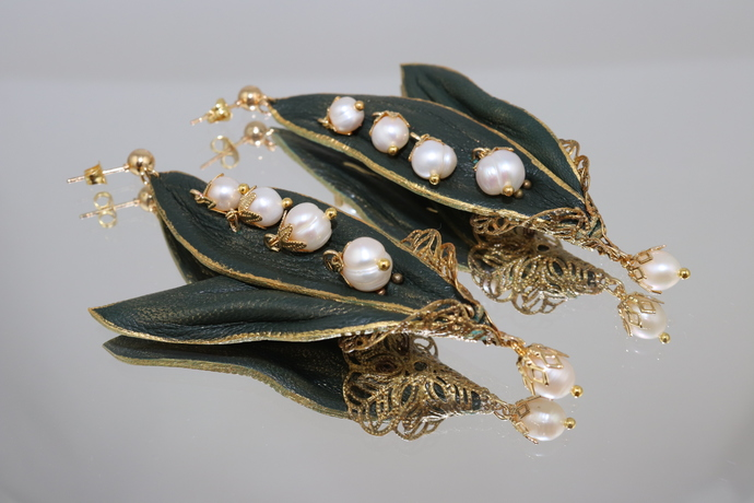 """Long earrings """"Lilies of the valley"""""""