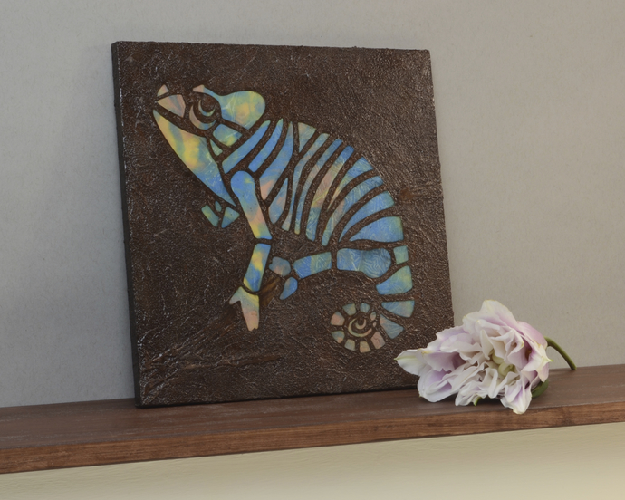 Chameleon Mosaic Painting, Blue Green, Faux Stone Mixed Media Tile