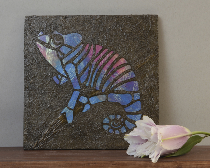 Blue Purple Chameleon Mosaic Painting, Faux Stone Mixed Media Tile