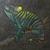 Dark Green Chameleon Mosaic Painting, Faux Stone Mixed Media Tile
