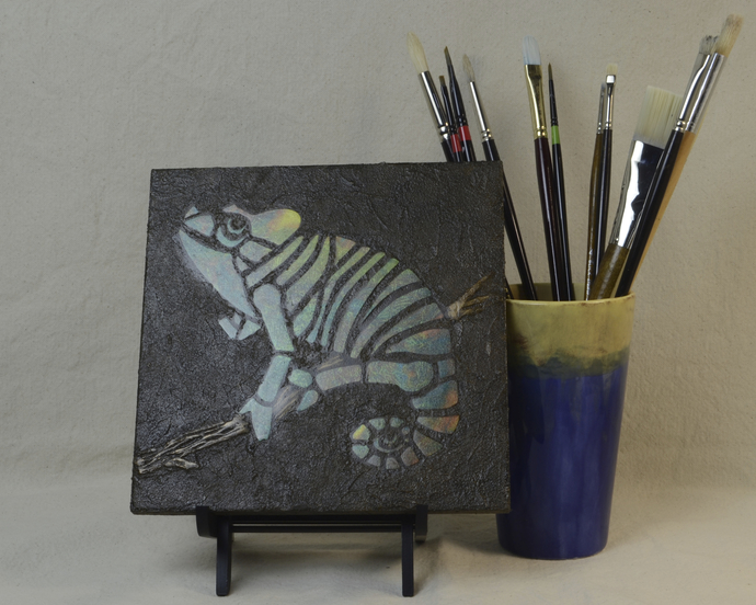 Dark Green Chameleon Mosaic Painting, Faux Stone Mixed Media Tile