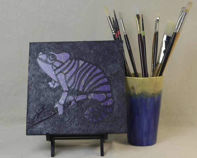 Dark Purple Chameleon Mosaic Painting, Faux Stone Mixed Media Tile