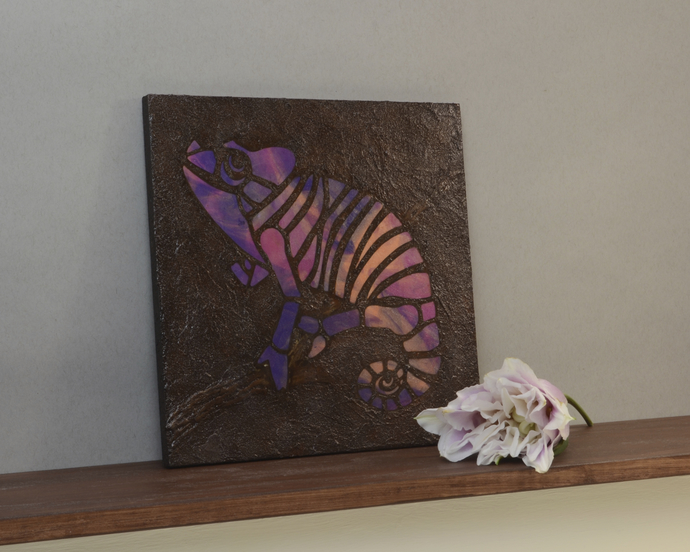 Pink and Purple Chameleon Mosaic Painting, Faux Stone Mixed Media Tile