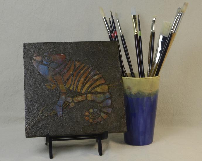 Orange and Blue Plaid Chameleon Mosaic Painting, Faux Stone Mixed Media Tile