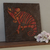 Red Orange Chameleon Mosaic Painting, Faux Stone Mixed Media Tile