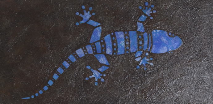 Blue and Silver Gecko Mosaic Painting, Faux Stone Mixed Media Tile