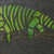 Green Plaid Chameleon Mosaic Painting, Faux Stone Mixed Media Tile